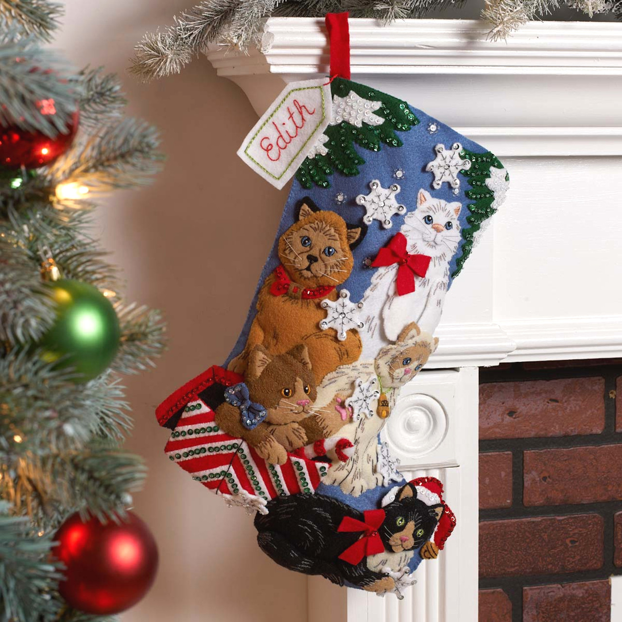 Plaid / Bucilla - Christmas Kitties Christmas Stocking