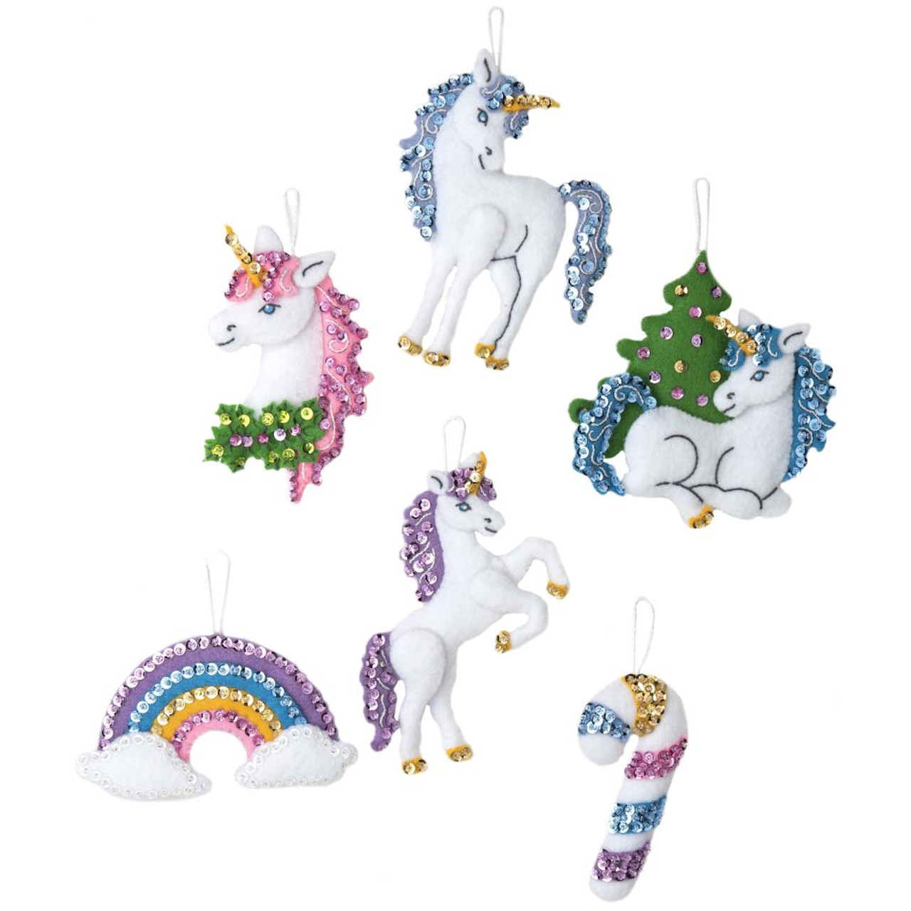 Plaid / Bucilla -  Santa's Unicorn Christmas Ornaments