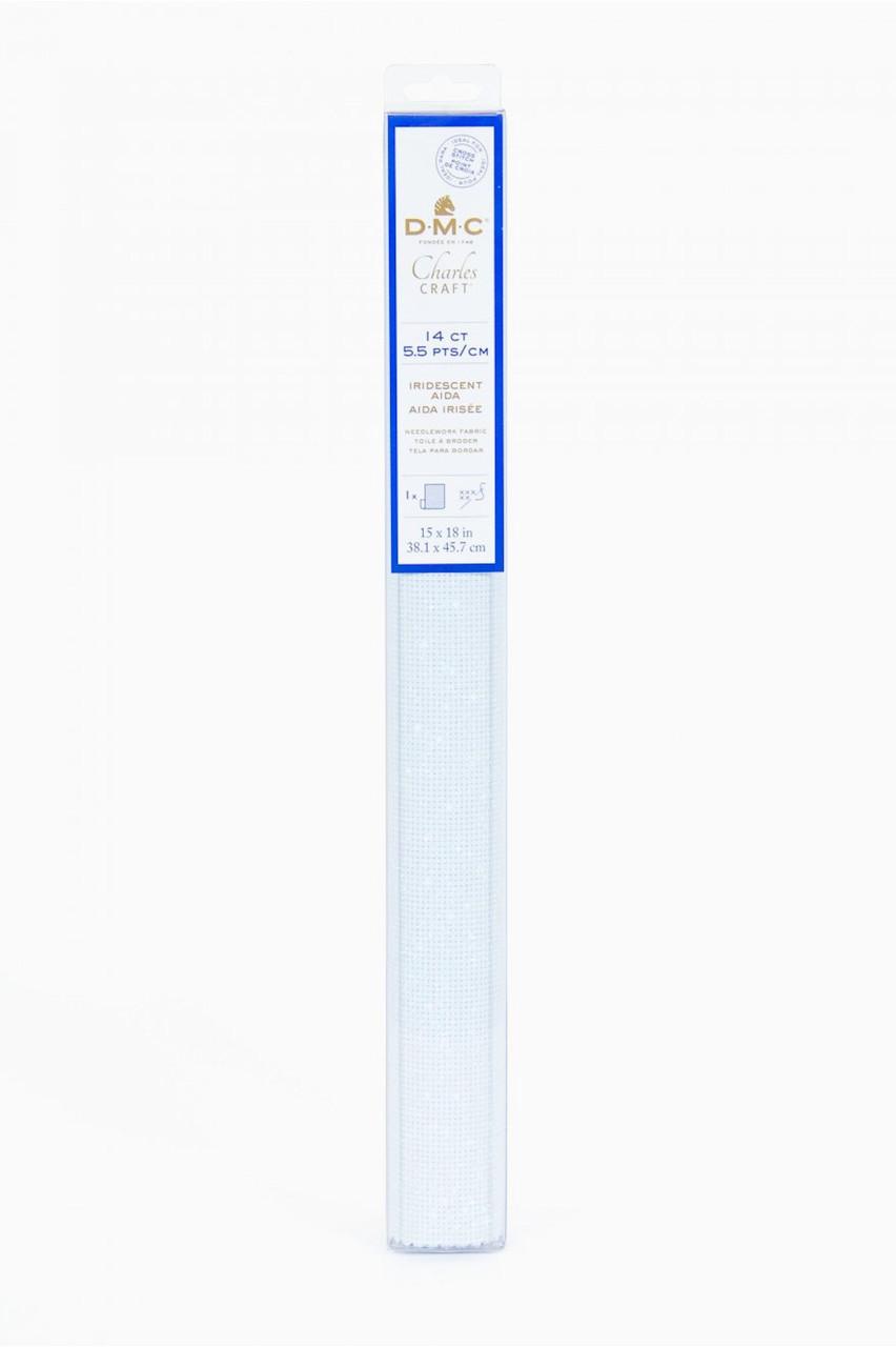 """DMC / Charles Craft Iridescent White 14 Count Aida Fabric - 15"""" x 18"""""""