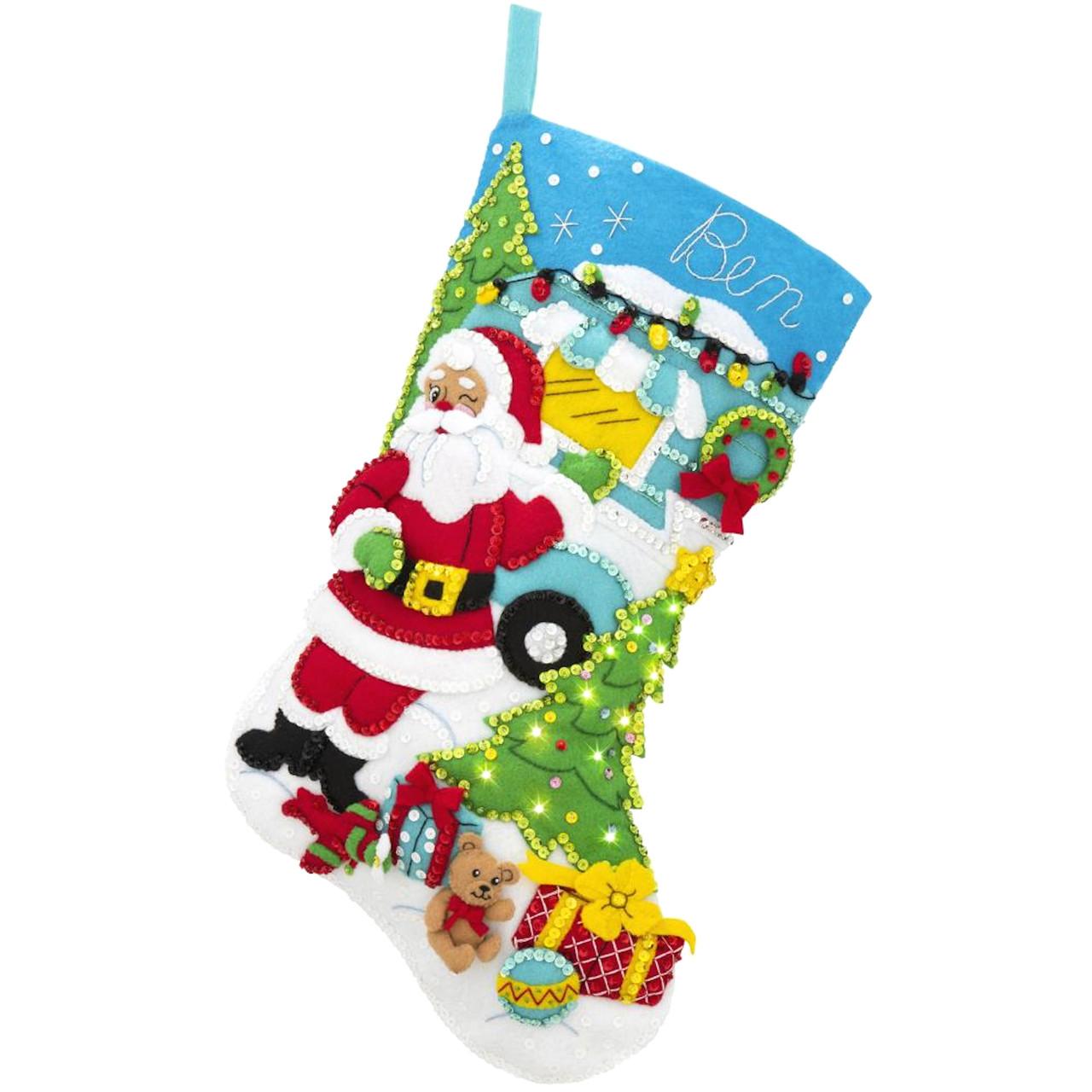 Plaid / Bucilla - Camper Santa Christmas Stocking