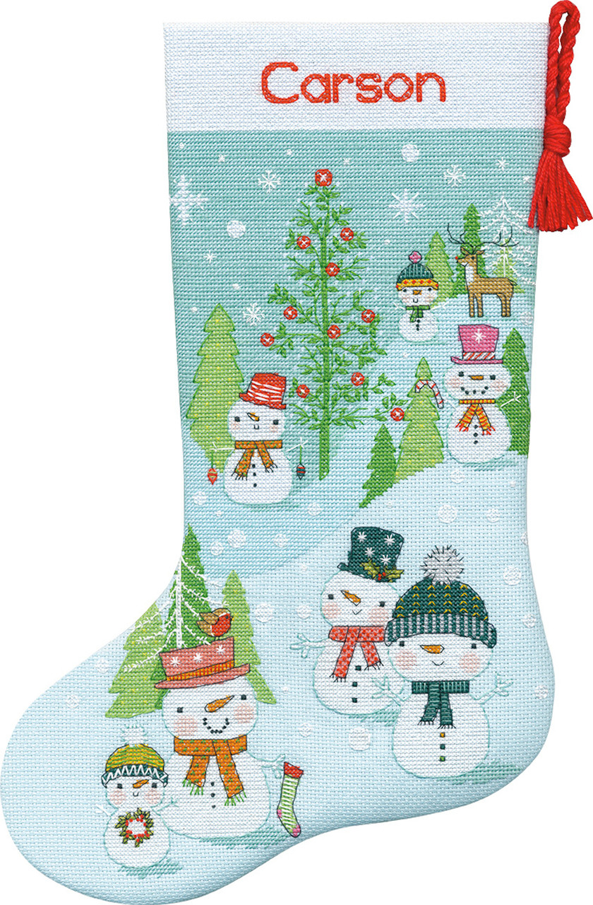 Dimensions - Snowman Family Stocking