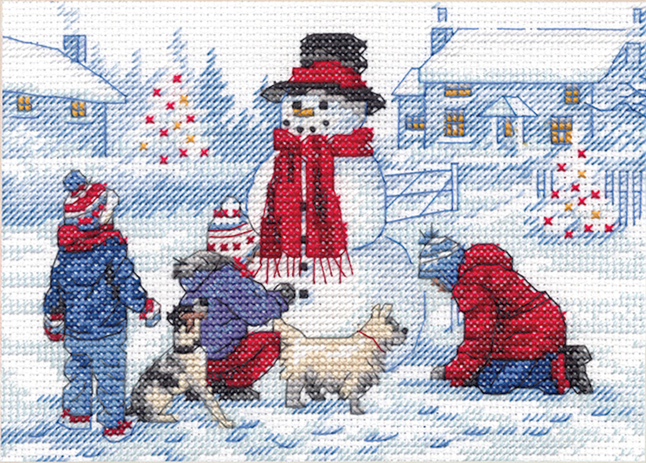 Counted Cross Stitch Mini Kit ~ Dimensions Building A Snowman #70-08993
