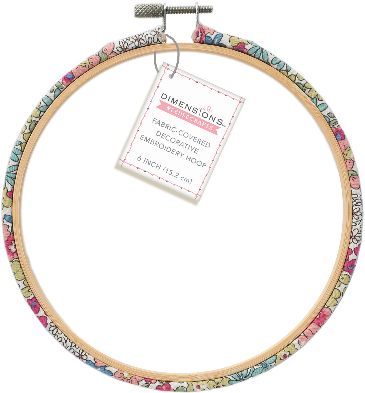 Dimensions - 6 inch Fabric Covered Bamboo Embroidery Hoop