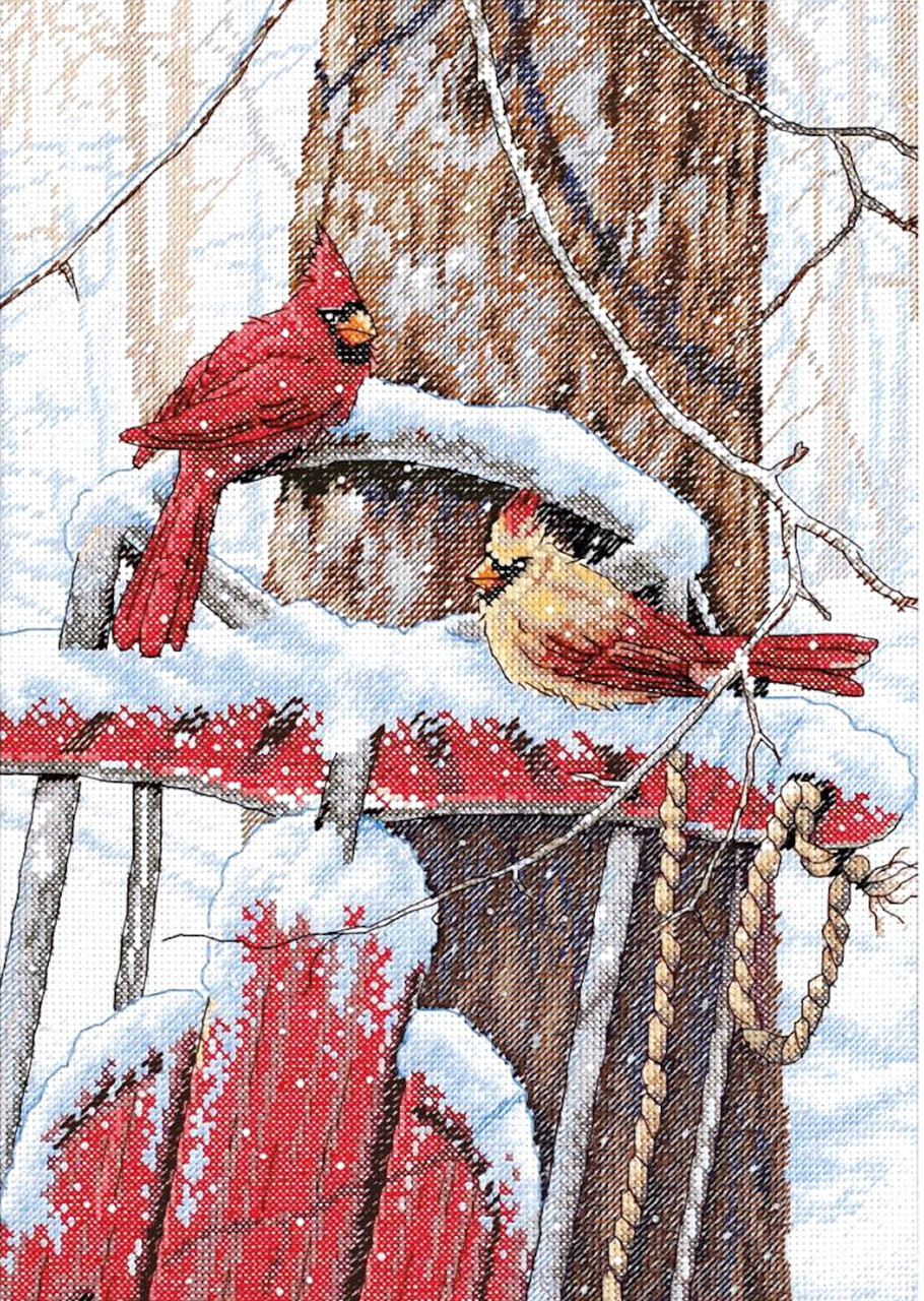 Cardinal Joy Mini Banner Dimensions Needlecrafts Counted Cross Stitch
