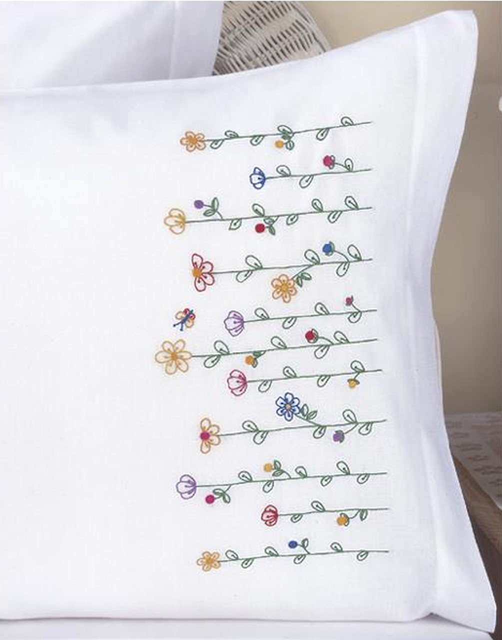 Plaid / Bucilla - Tall Flowers Pillowcases (2)