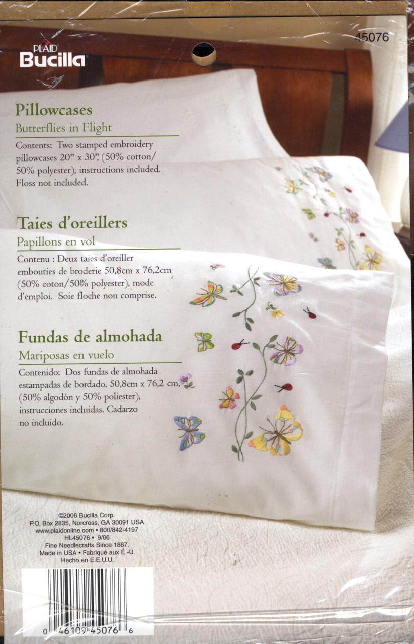 Plaid / Bucilla - Butterflies in Flight Pillowcases (2)