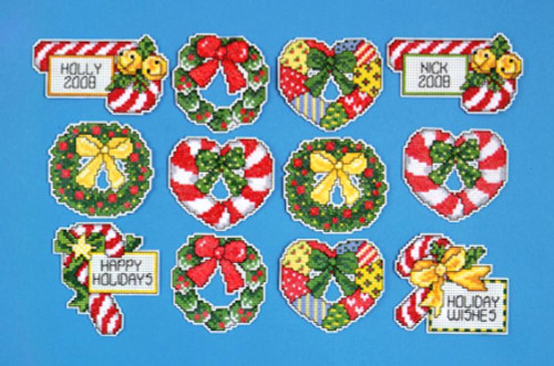 Design Works Candy Canes & Wreaths Ornaments (12)