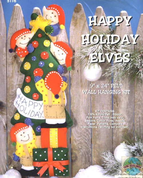 Design Works - Happy Holiday Elves Wall Hanging