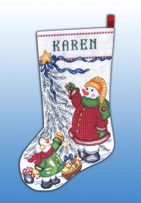 Design Works - Christmas Tree Snowmen Stocking