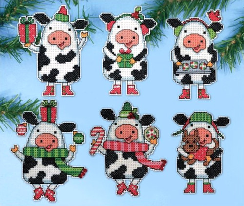 Design Works - Christmas Cows Set of 6 Ornaments