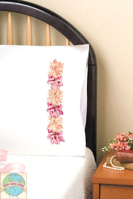 Design Works - Pink Floral Pillowcases (2)