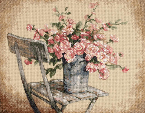Dimensions - Roses on White Chair