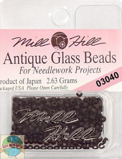 Mill Hill Antique Glass Beads 2.63g Flat Black