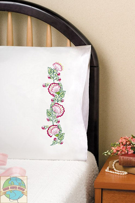 Design Works - Pink Floral Fan Pillowcases (2)