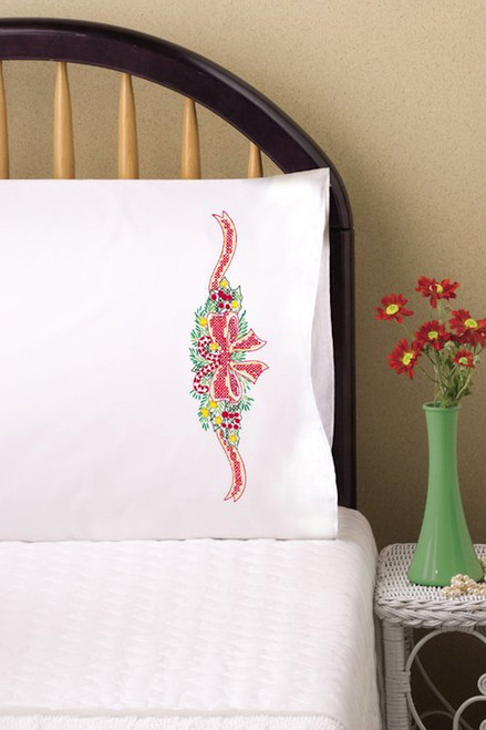 Design Works - Candy Canes Holly Pillowcases (2)