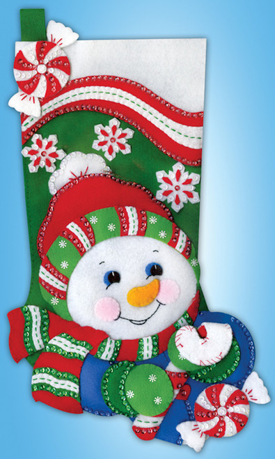 Design Works - Candy Cane Snowman Stocking