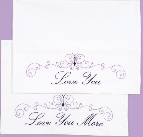 Jack Dempsey Needle Art - Love You Love You More Pillowcase Set (2)