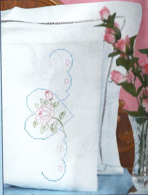 Jack Dempsey Needle Art - Rose & Heart Pillowcase Set (2)