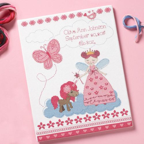 Plaid / Bucilla - Fairytale Princess Birth Record