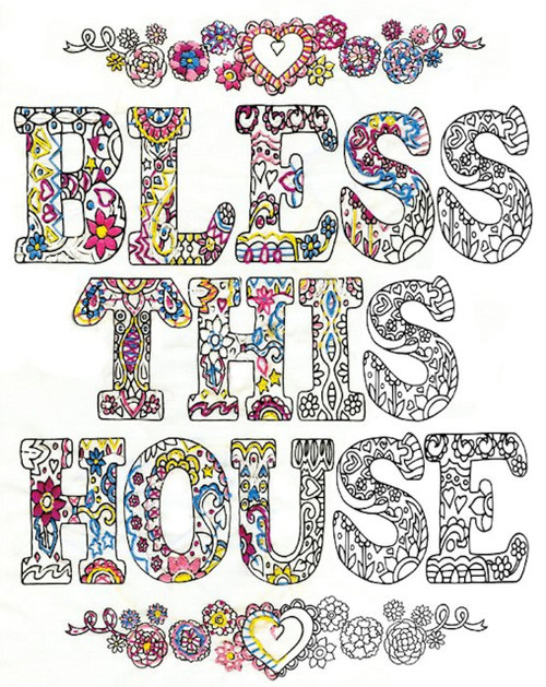 """Design Works - Zenbroidery Bless This House 14"""" x 18"""""""