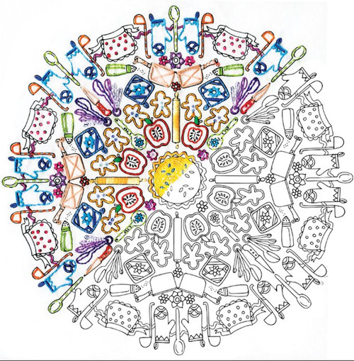 "Design Works - Zenbroidery Kitchen Mandala 12"" x 12"""