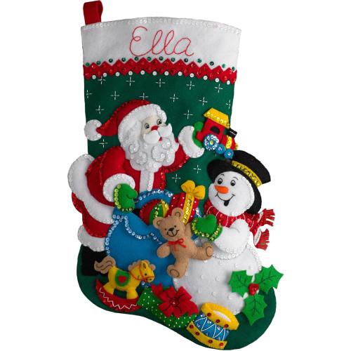 Plaid / Bucilla - Santa and Snowman Stocking