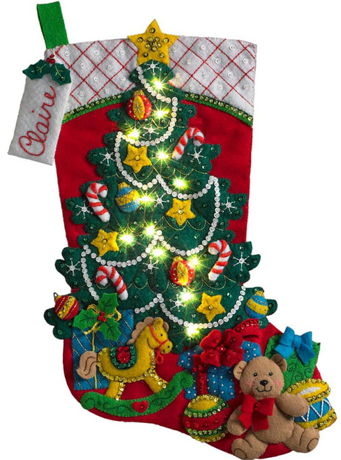 Plaid / Bucilla - Christmas Tree Suprise Stocking