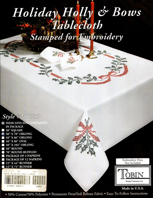 Design Works - Holiday Holly & Bows 50in x 70in Tablecloth