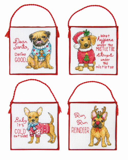 Dimensions - Christmas Pups Ornaments (Set of 4)