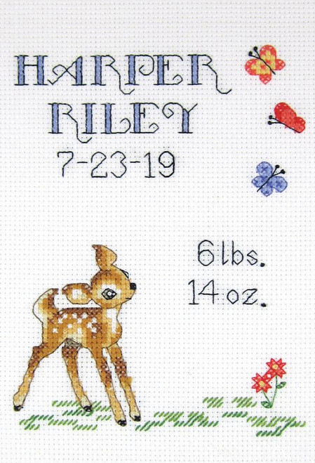 Janlynn - Baby Deer Birth Sampler