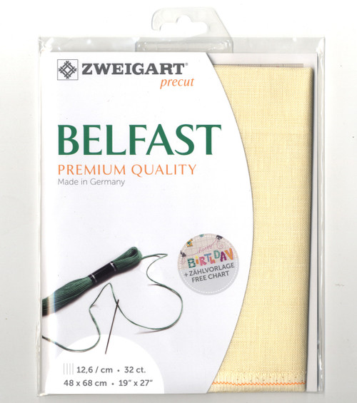 Zweigart - 32 Ct Cream Belfast Premium Quality Linen 19 x 27 in