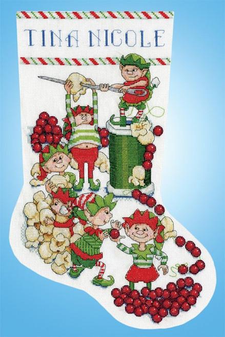 Design Works - Popcorn Elves Stocking