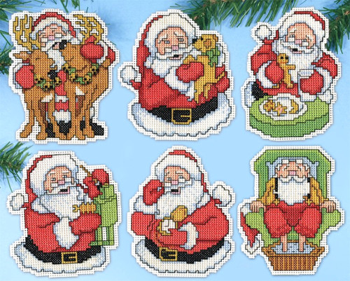 Design Works - Jolly Santa Ornament Set (6)