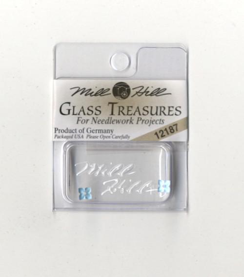 Mill Hill Glass Treasures - 4 Petal Flower Matte Aqua