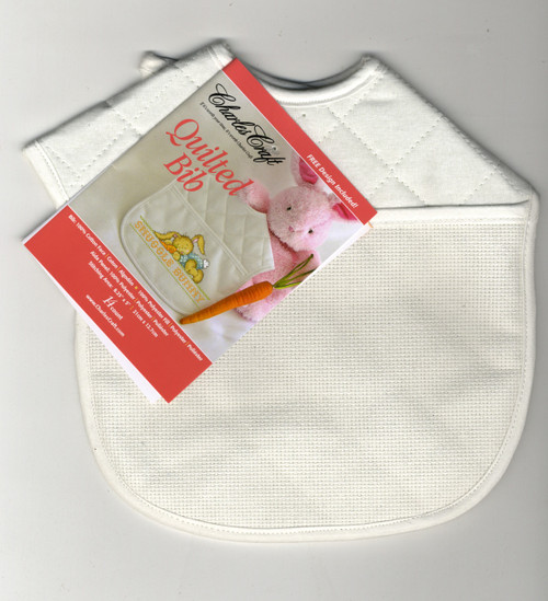 DMC Stitchable 14 count White Trim Quilted Baby Bib