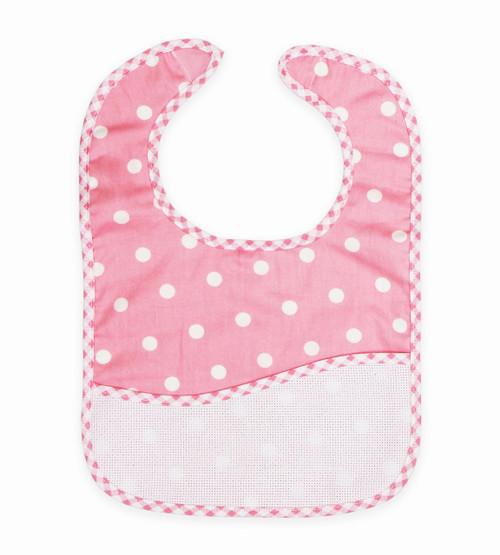 DMC Stitchable 14 count Pink Polka Dot Toddler Bib