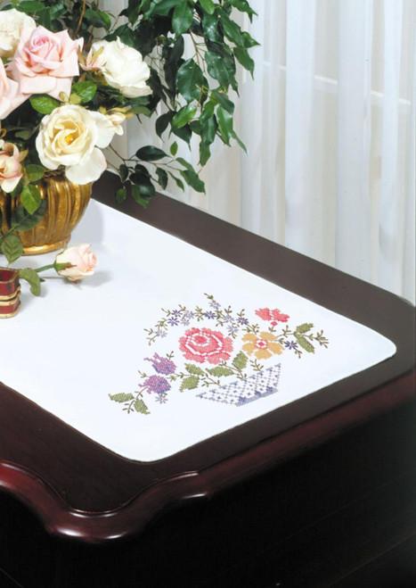 Design Works - Basket Floral Dresser Scarf