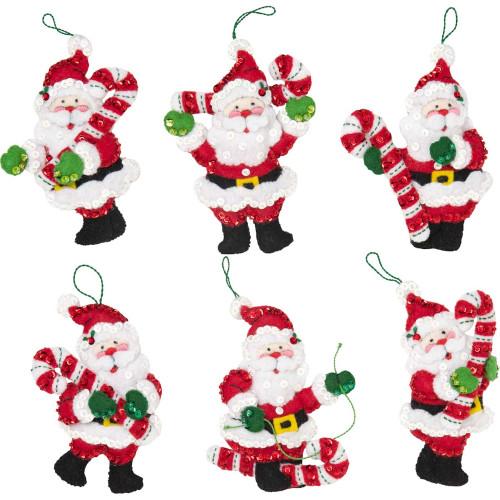 Plaid / Bucilla - Candy Cane Santas Ornaments
