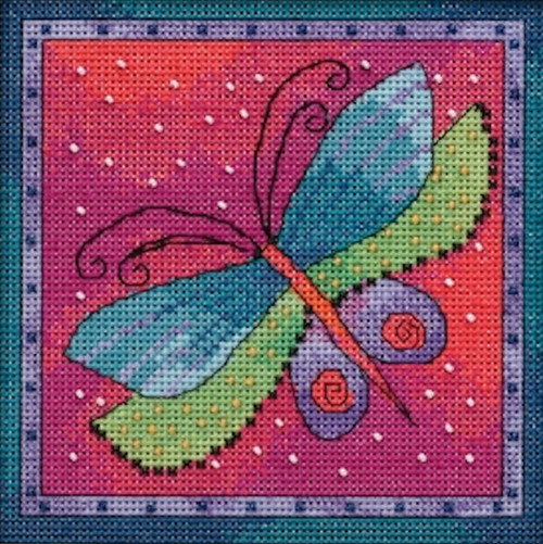 2019 Mill Hill Laurel Burch Flying Colors - Dragonfly Fuchsia