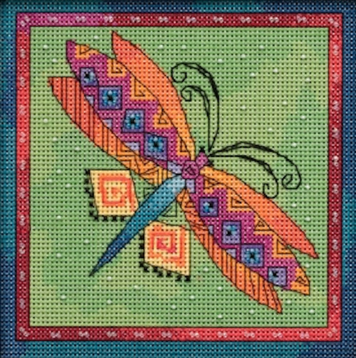 2019 Mill Hill Laurel Burch Flying Colors - Dragonfly Lime