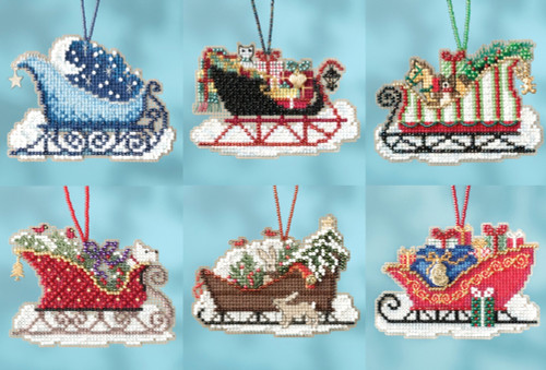 2017 Mill Hill Sleigh Ride Charmed Ornament Set (6 Kits)