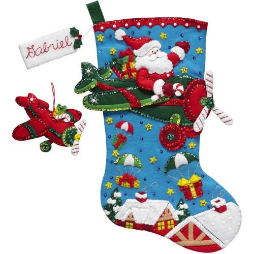 Plaid / Bucilla -  Airplane Santa Stocking