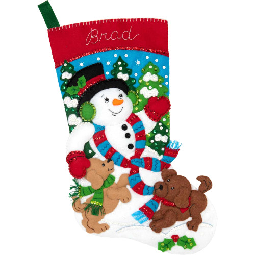 Plaid / Bucilla -  Snowman and Puppies Stocking