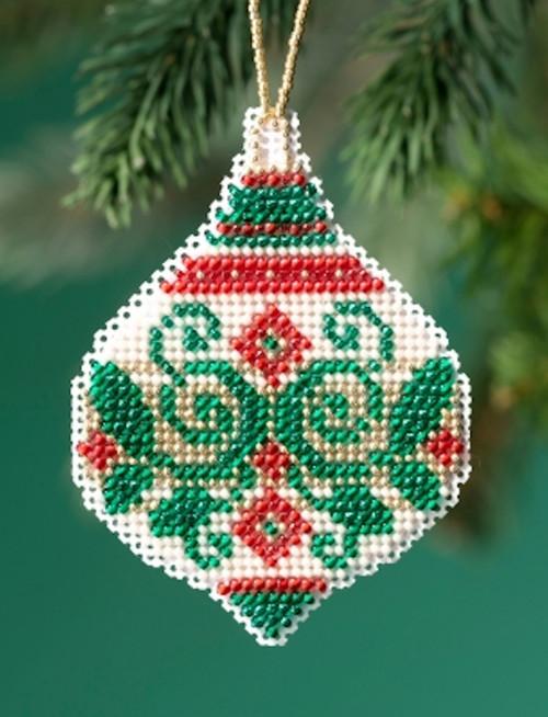 Mill Hill 2019 Beaded Holiday Ornament - Emerald Flourish