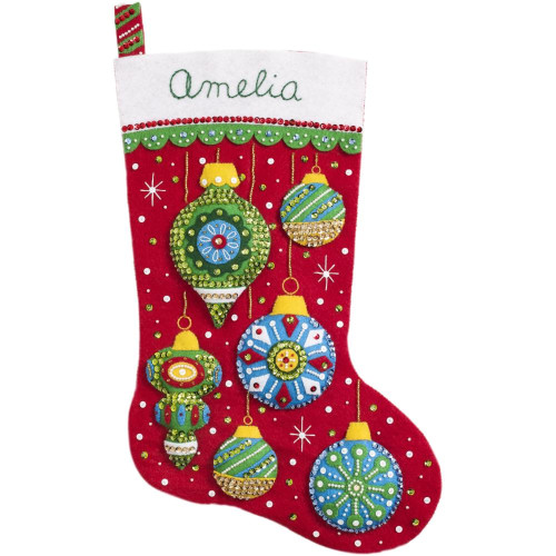 Plaid / Bucilla -  Pretty Tree Trimmers Stocking