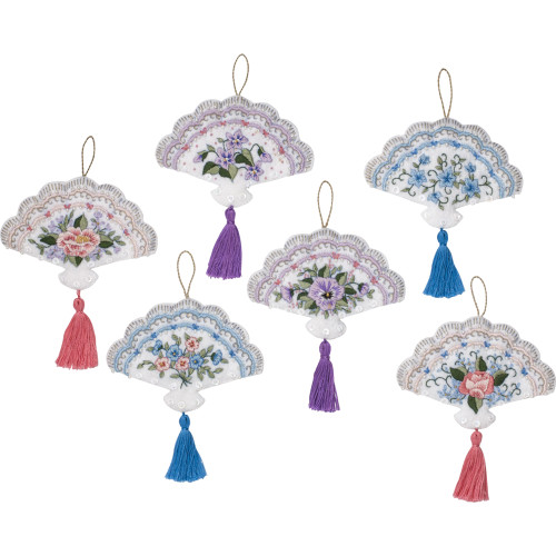 Plaid / Bucilla -  Victorian Fans Ornaments