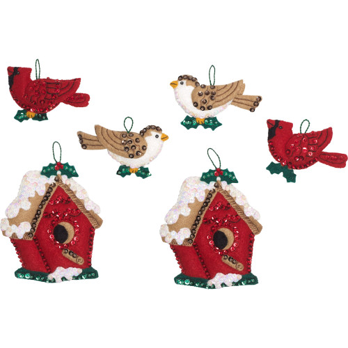 Plaid / Bucilla -  Christmas Birds Ornaments