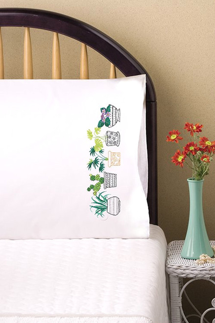 Design Works - House Plants Pillowcase Pair