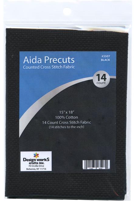 "Design Works - Gold Quality Black 14 Count Aida Fabric 15"" x 18"""