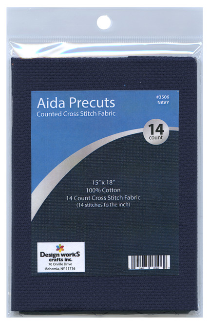 """Design Works - Gold Quality Navy 14 Count Aida Fabric 15"""" x 18"""""""